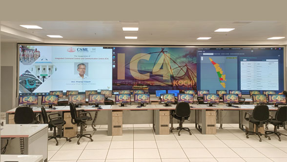 Kochi smart city command centre equipped with Delta video wall solutions