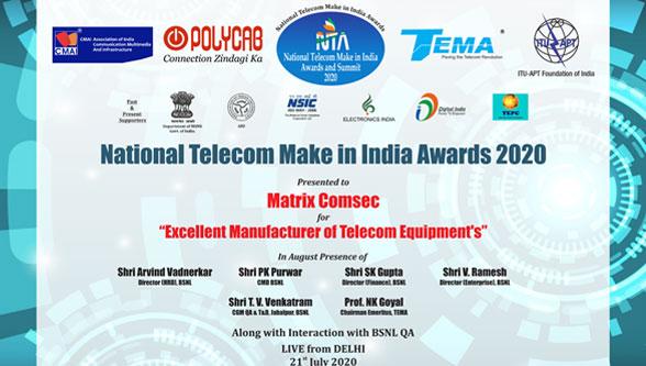 Matrix wins 'National Telecom Make in India Awards 2020